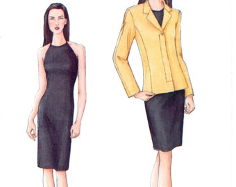 Vogue 7426, Size 8 10 12, Misses Loose Fitting Jacket, Straigt Lined Dress, Halter Neckline, Complete Uncut Sewing Pattern