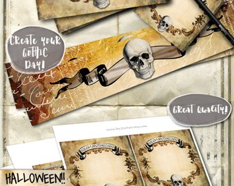 BLANK POISON labels 4x4 inch gothic halloween - Digital collage sheet coaster sticker hang tags editable writable - instant download - tl173
