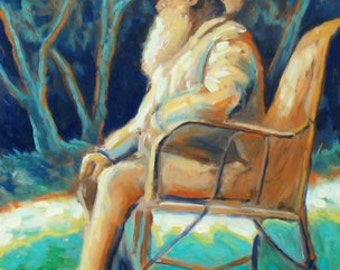 Monet on a chair (A3 print)
