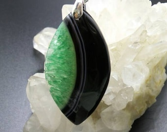 Green and Black Agate Druzy Pendant.