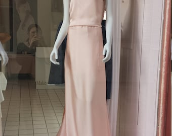 "Bridal dress or evening ""Peach"" in crepe back satin with epaulettes in pearls and sparkles."