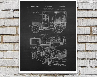 Willys Jeep Patent Print # 12, one single unframed art print, Vintage Jeep crankcase parts patent, Jeep Gift idea, Jeep Wall Decor