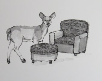 "Deer and Chair Print - ""Domestic Wildlife"" Series"