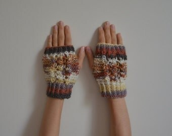 Alpaca Colorful Hand Knit Lace Fingerless Gloves, Mittens, Women Accessories