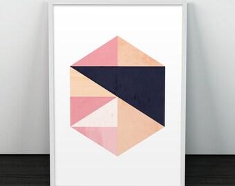 Watercolor abstract, Marble art, Geometric print, Wall art, Modern art, Scandinavian print, Minimal poster, Triangles art, Home art print