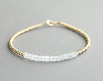 Moonstone Bracelet With Gold Glass Seed Beads