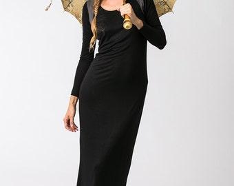 Oda Black Maxi Dress, Boho Dress, Casual Dress, Long Sleeve Black Dress, Body-con Dress, Winter Dress, Womens Clothes