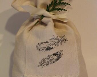 Hemp Fabric Gift Bag, Reusable Cloth Gift Bag, Dove Feather Gift Bag