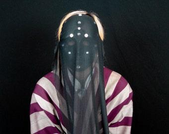SALE - Floating Veil - Unique Original Avant Garde Black Veiled Fantasy Masquerade Mardi Gras Halloween Costume Party Mask - Ready To Ship