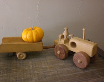 Wood/Wooden Tractor and Trailer Toy, Vintage 1970's era, HandCrafted By R. Lincourt, Farm Tractor and Trailer Toy, PRIMITIVE TOY