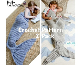 Mermaid and Shark Tail Blanket - 2 PACK PATTERN ONLY - Crochet - Child and Adult Size