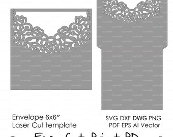 Wedding invitation Envelope Pattern Template Roses Lace folds (svg, dxf, ai, eps, png, pdf) laser paper die cut Silhouette Cameo