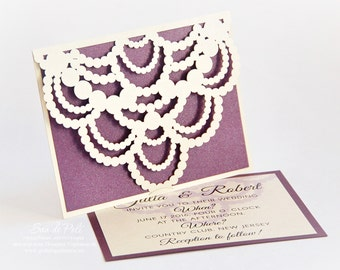 Necklace beads diamonds Wedding invitation Card Template stencil folds (svg dxf ai eps png) laser cut Instant Download Silhouette Cameo