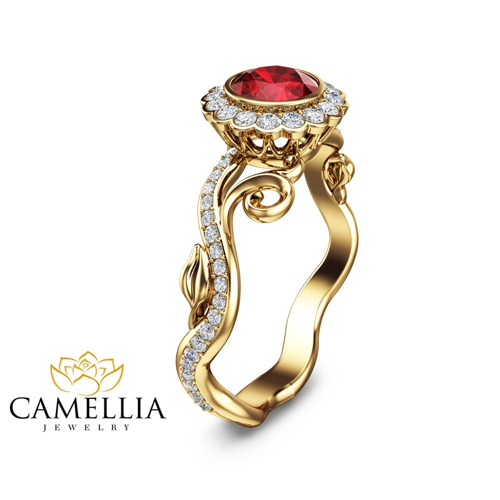 Ruby Wedding Engagement Ring 14K Yellow Gold Natural Ruby Ring