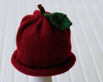 Knit Apple Hat, Baby Apple Hat, Baby Shower Gift, Children's Fruit Hat, Fall Photo Prop, Halloween Costume, Reborn Baby, Harvest Photos