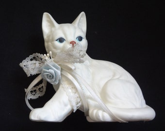 Blue Eyed White Cat with Ribbon and Lace for Vintage Cat Collectors