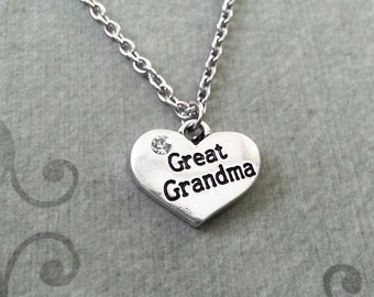 Great Grandma Necklace SMALL Great Grandma Jewelry Grandmother Necklace Grandmother Jewelry Grandma Heart Necklace Silver Pendant Necklace