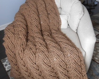 Crocheted Cable Stitch Mocha Throw