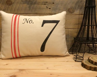 No. 7 with Red Stripes Pillow Cover