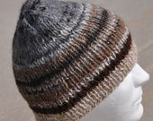 Funky, Striped, Hand Spun, Hand Knit, Alpaca Winter Hat. Beanie, toque, watch cap, ski hat, or winter cap in many natural colors of alpaca.
