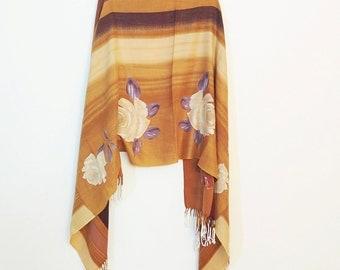 ROMANTIC ETHNIC SHAWL, slouchy wrap shawl, woven rose shawl, floral shawl, boho wrap, bohemian wrap scarf, gypsy hippie shawl