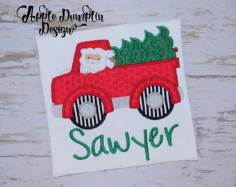 Santa Christmas Truck Applique Machine Embroidery Design, Christmas Tree, Holiday, Boy Embroidery, Girl, Reindeer, Winter, 5x5, 5x7, 6x10