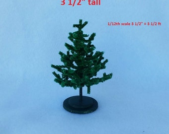 Miniature Chenille Christmas Tree Dollhouse Scale 3.5 inch