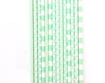 Mint Straw With Gold Flag, Paper Straw, Mint Green Straw, Gold Straw Flag, Baby Shower or Wedding Straw, Straw