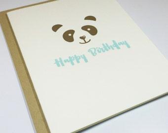 Panda - Happy Birthday - Letterpress Card