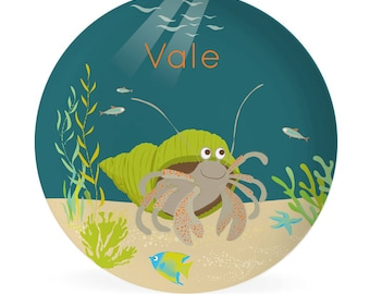 KIDS PLATE, baby gift, Personalized plate,  Ocean, hermit crab, Dish for kids, gift for boys, gift for girls