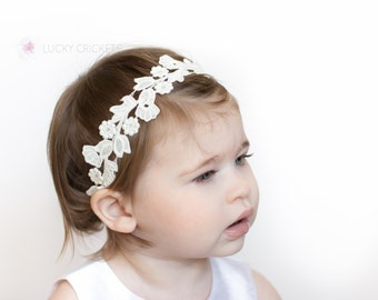 Lace Baby Headband - Baby White Headband - Dainty Headband - White Headband - Baby Headband - White Toddler Headband - Lace Headband