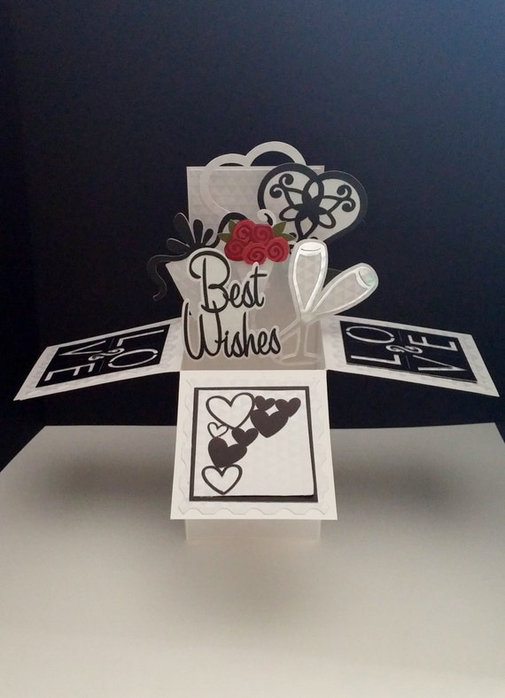 3 D Anniversary Wedding Pop Up Box Card Gift Card Holder