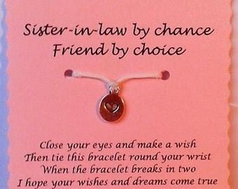 Sister-in-Law gift, Wish Bracelet, Sister-in-Law bracelet, Charm bracelet, Sister-in-Law Jewelry, Gift Sister-in-Law, Keepsake, Xmas gift
