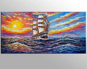 Sunrise Painting, Seascape Art, Abstract Painting, Canvas Painting, Wall Art, Oil Painting, Sail Boat Painting, Large Art, Original Art