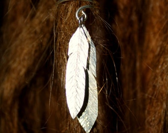 Two Feathers Dreadlock Accessory Silver