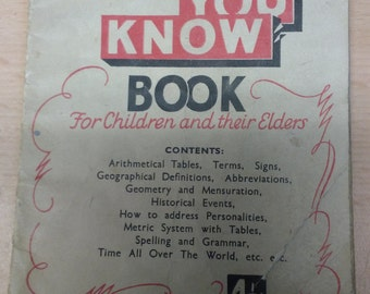 Vintage 'Did You Know Book For Children and their Elders'