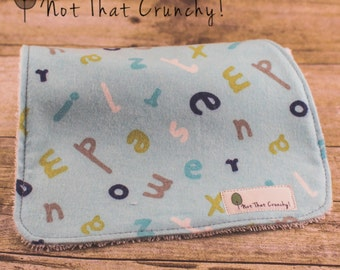 Baby Burp Cloth - Contour Burp Cloth - Alphabet Burp Rag - Blue Alphabet Burpies - Newborn Baby Gift