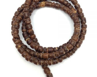1 strand coconut pearls, natural Brown, 3mm, Pukalite, 150 pieces, coconut slices, slices, beads, coconut, beads, discs, slices