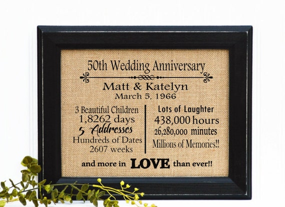 List Of 50th Wedding Anniversary Gifts : Gift, 50th Anniversary, Anniversary Gift for Parents, 50 Year Wedding ...