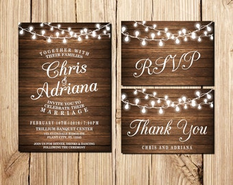 Wedding Invitation, Rustic Wedding Invitation, Printable Wedding Invitation, RSVP Postcard,   Wood, lights, Vintage Wedding Invitation
