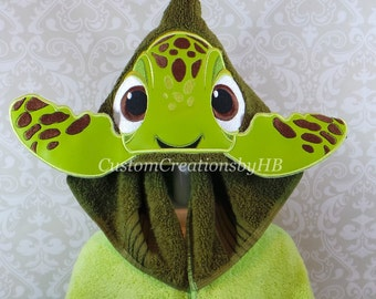 3D Squirt Finding Nemo Inspired Sea Turtle Hooded Towel on High Quality Belk Department Store Towels