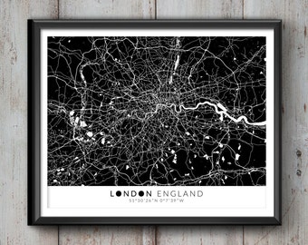 London Map with Coordinates, London Map, Map Art, Map Print, London Print, London Art, London Gift,  London Decor, London Poster, London