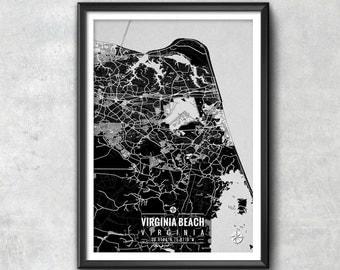 VIRGINIA BEACH Virginia Map with Coordinates, Virginia Beach Wall Art, Virginia Beach Map, Map Art, Map Print, Virginia Beach Print, Map,Art