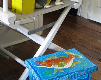 Hand-painted wooden child's stool with colorful acrylic fish