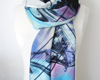 Oversized scarf, Long scarf, Women scarf, Vortex scarf, Bridesmaid gifts, Blue Shawl, 5th anniversary gift, gift under 30, presents for mom