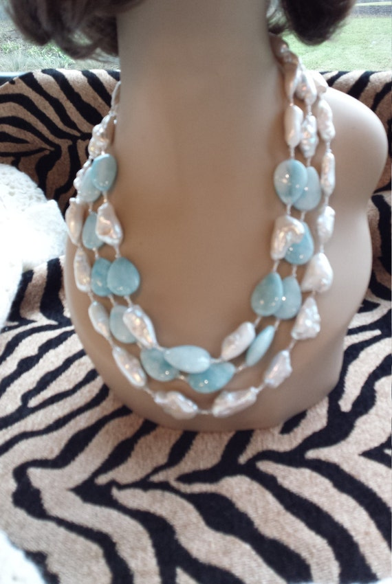 Three strand Semi-precious stone necklace made with a gorgeous bluish white teardrop amazonite stone and fresh water pearls