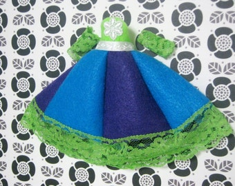 Blue and Green Party for paperdoll dress