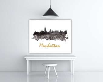 Manhattan Skyline Print, Panorama Manhattan Print, NYC Skyline Wall Art, Silhouette Download NY Skyline, Urban Decor New York Gift Traveller