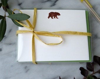 Bear Stationery - Set of 12 Correspondence Cards w/ Watercolor Bear