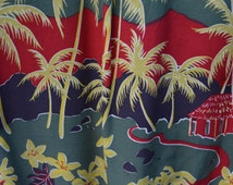 Vintage Polo Sport Hawaiian Shirt by Ralph Lauren Spelled Out, Rayon, motif of Aloha Land & Palm Trees engineered print, 1 pocket, XL Size